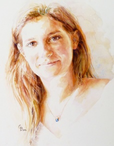 Anna - watercolour on board - U.S. commission
