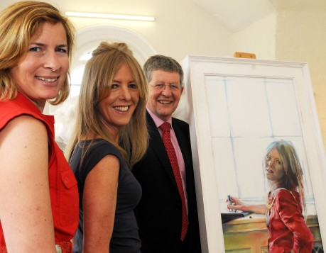 Outgoing BANES Chairman with portrait exhibited at Walcot Chapel with guests pictured Catherine Beale (artist), Sarah Bevan (outgoing chair), Don Foster MP pic by Lloyd Ellington 200511 news