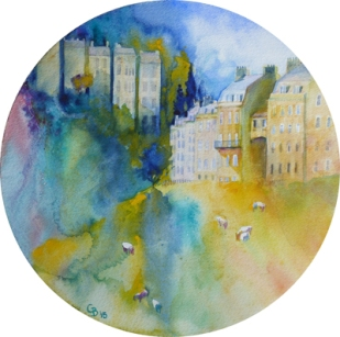 Bath Dreaming, watercolour