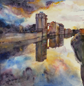 Bath Riverside - sold watercolour