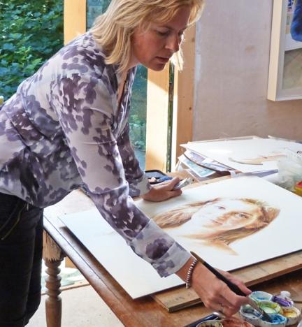 Catherine Beale in the studio