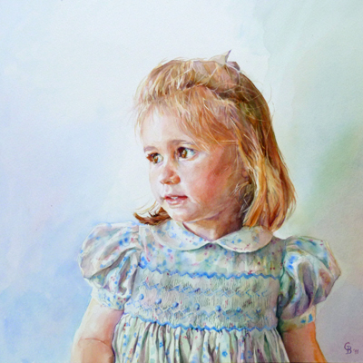 Claudia - watercolour on board 56cms sq