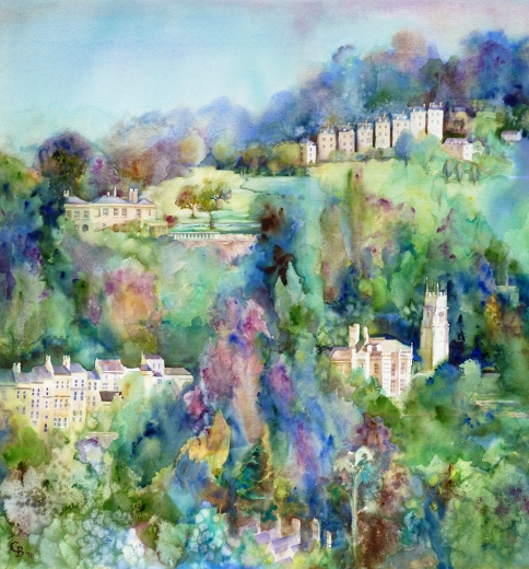 Lyncombe view, watercolour commission