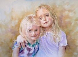 Gill Sisters - watercolour on board