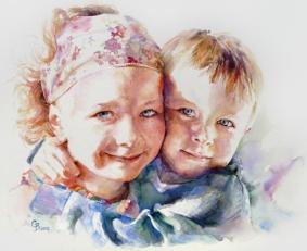 Maya & Jacob - watercolour on board