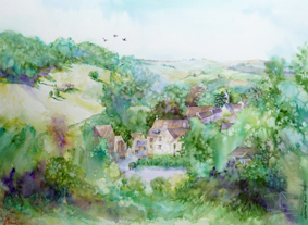 Monkton Combe, watercolour commission - Monkton Combe School