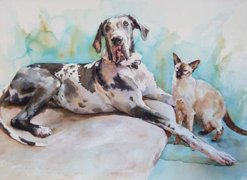 Moose and Suki - (76 x 56cms/30 x 22inches)
