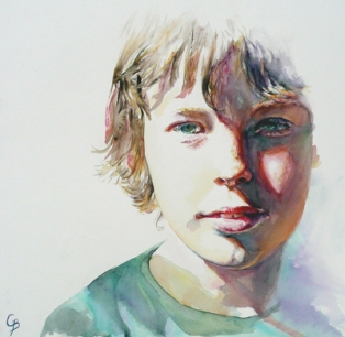 Robbie - Watercolour, exhibited with RI, RWS, SWA and Bath Society of Artists