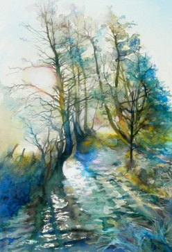 Sun rising over water, watercolour sold - print available