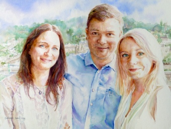 Tavernor family - watercolour on board - commission