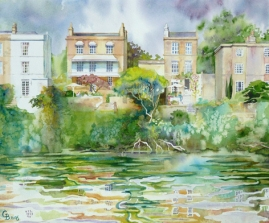 Tea on the terraces - sold watercolour