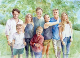 Family group - watercolour on board - large commission from photos