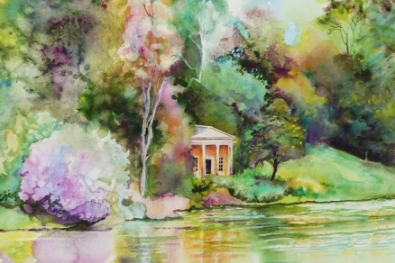 Temple on the lake, Stourhead Gardens (detail)