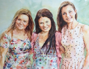 O'Keefe sisters - watercolour on primed wooden panel