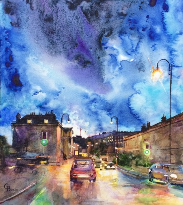 Illumination, watercolour on board by Catherine Beale (SAA)